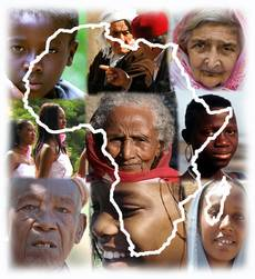 Logo of the website - Contour of Africa with faces of African people